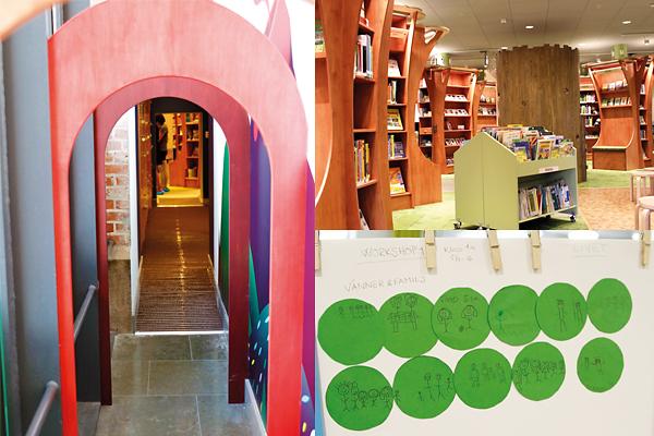 För alla barn Kanini är Malmö stadsbiblioteks nya barnavdelning för alla mellan noll och åtta år. Här finns avdelningarna Gryningen för de minsta, Skymningen för de mellan fyra och fem år och Skuggan för de mellan sex och åtta år. Avdelningen Regnbågen är en verkstad för digitalt och fysiskt skapande, Grottan är en plats för filmvisning och lässtunder, och i Bokskogen finns en picknickglänta. Foto: Helén Andersson